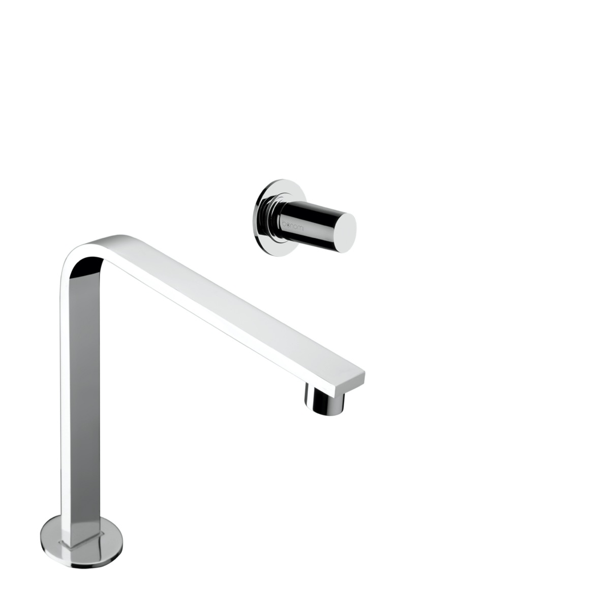 Wall mounted basin mixer with 243 mm spout with waste