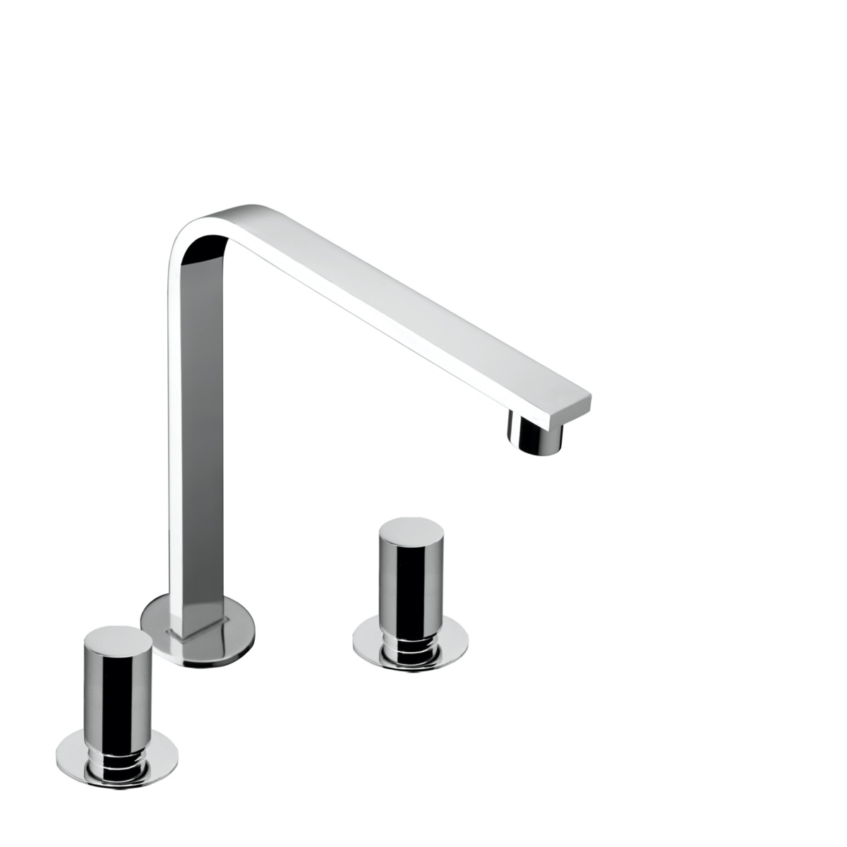 3 hole deck mounted basin mixer with 243 mm spout with waste