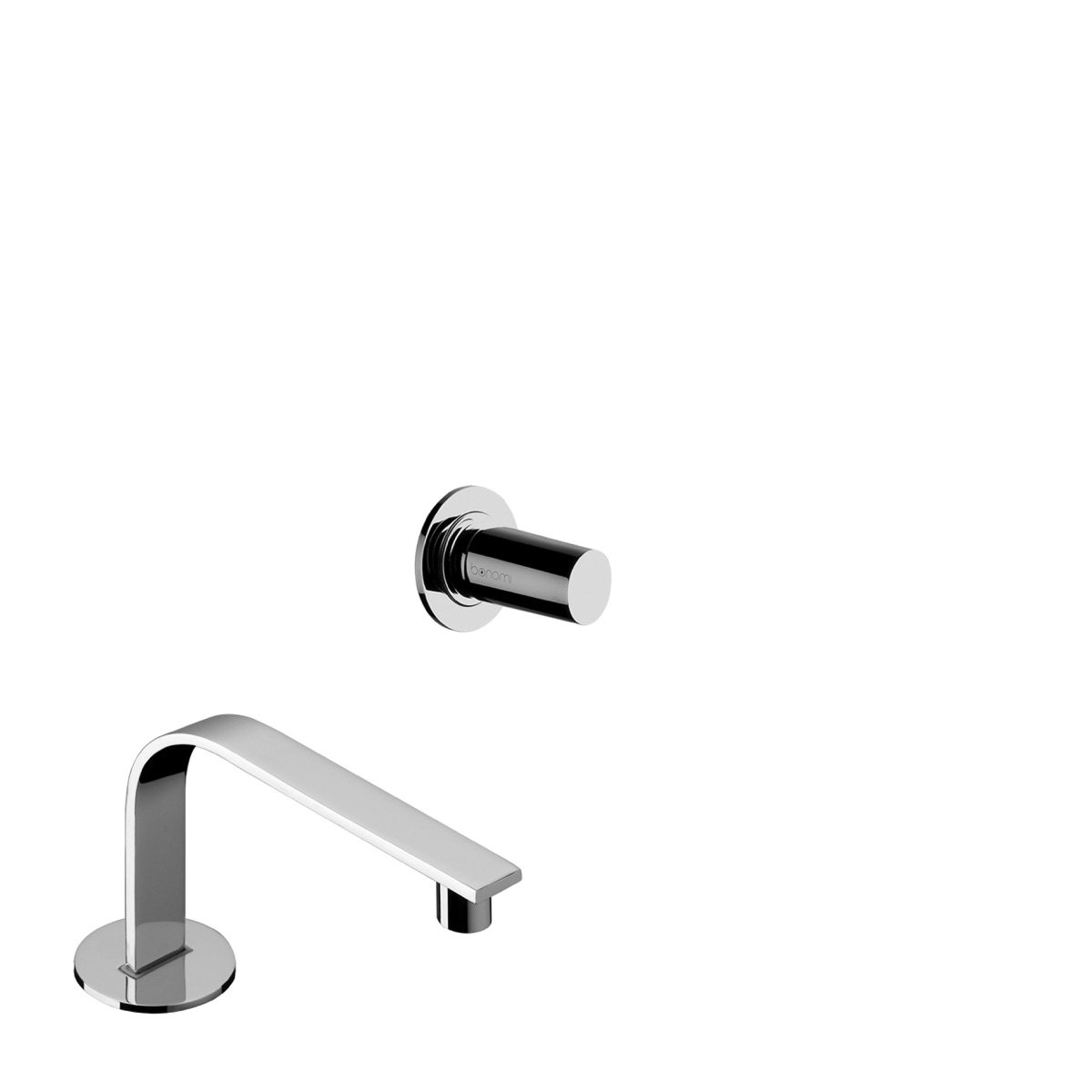 Wall mounted basin mixer with 112 mm deck mounted spout with waste