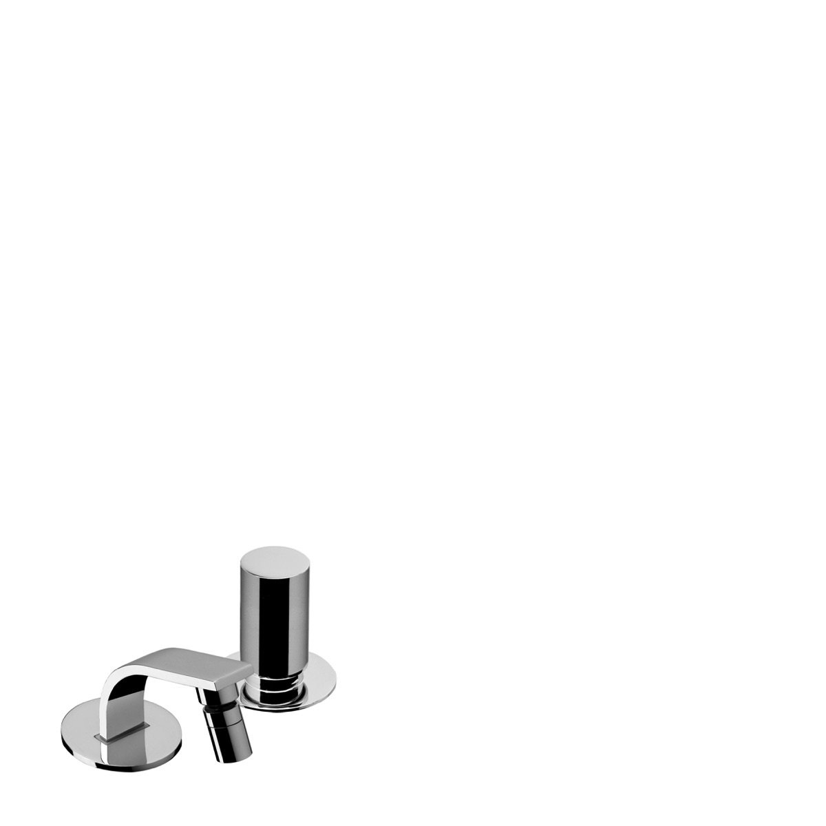 2 hole deck mounted bidet mixer with 84 mm spout with waste
